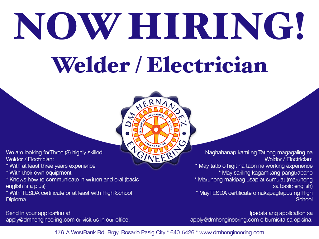 Now Hiring Electrician