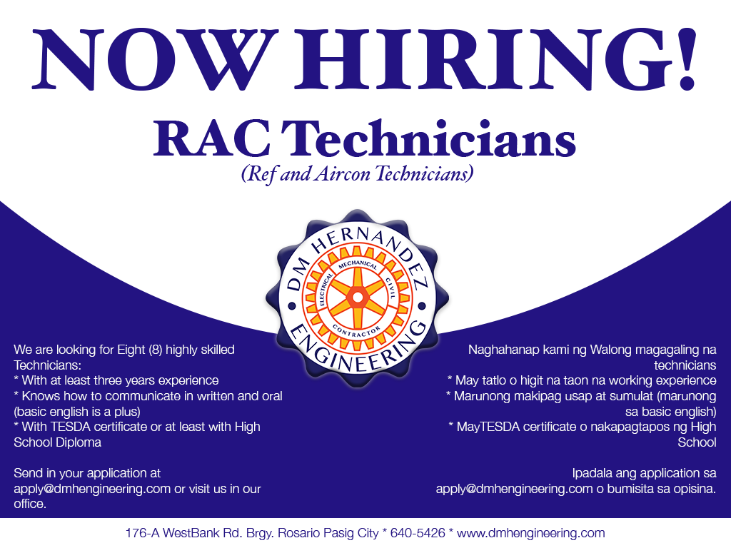 Now Hiring Technicians